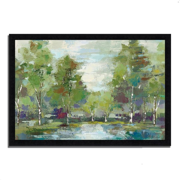 Framed Painting Print 33 In. x 23 In. Forest at Dawn by Silvia Vassileva Multi Color