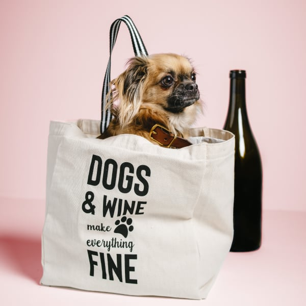 Dogs & Wine 100% Cotton Twill Reusable Bag
