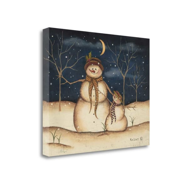 Fine Art Giclee Print on Gallery Wrap Canvas 20 In. x 16 In. Three Snowmen By Kim Lewis Multi Color