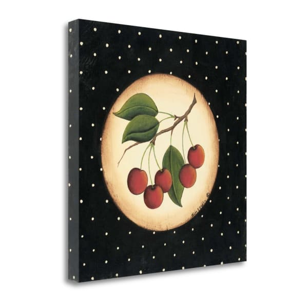 Fine Art Giclee Print on Gallery Wrap Canvas 20 In. x 20 In. Five Cherries By Kim Lewis Multi Color