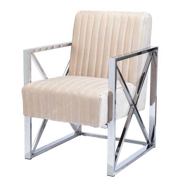 Shawn Velveteen Accent Chair and Ottoman – 2pc Set