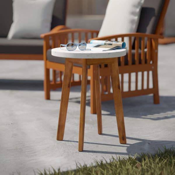 Adalene Outdoor Terrazzo-Top Round Accent Table