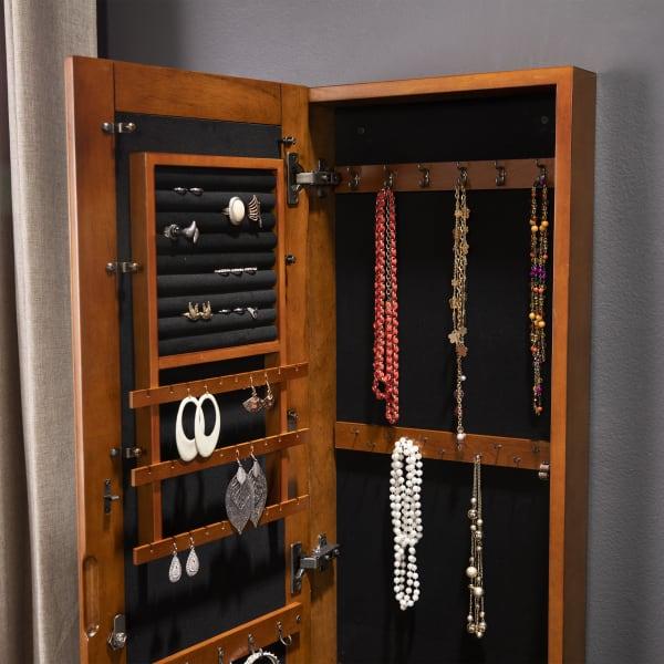Atwood Wall Mount Jewelry Mirror - Oak