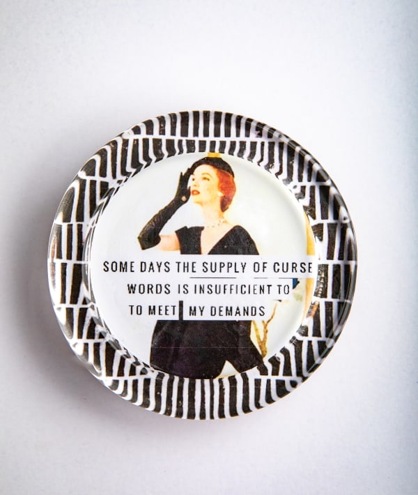 Curse Words Black And White Recycled Glass Coaster
