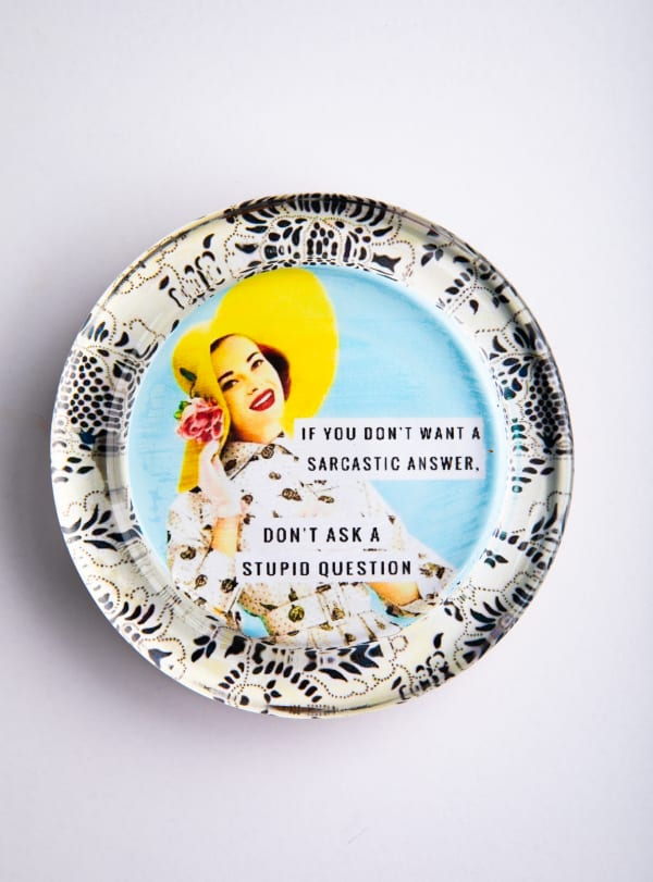 Sarcastic Answer Black And White Recycled Glass Coaster