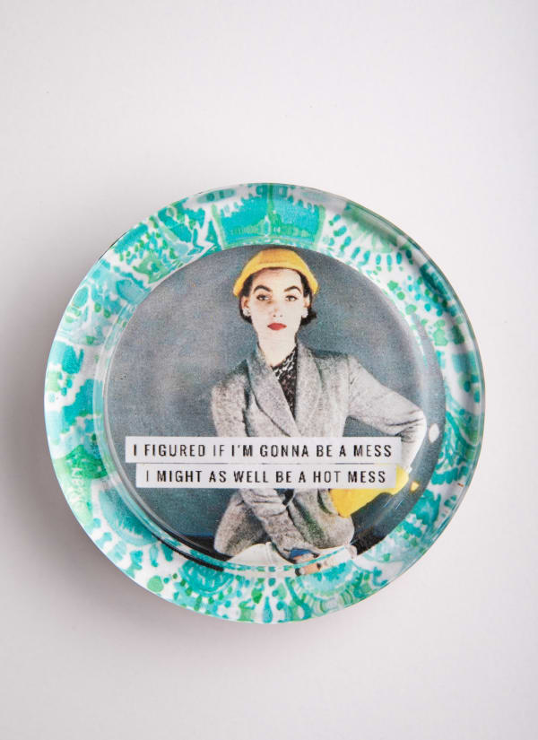 Hot Mess Green Recycled Glass Coaster