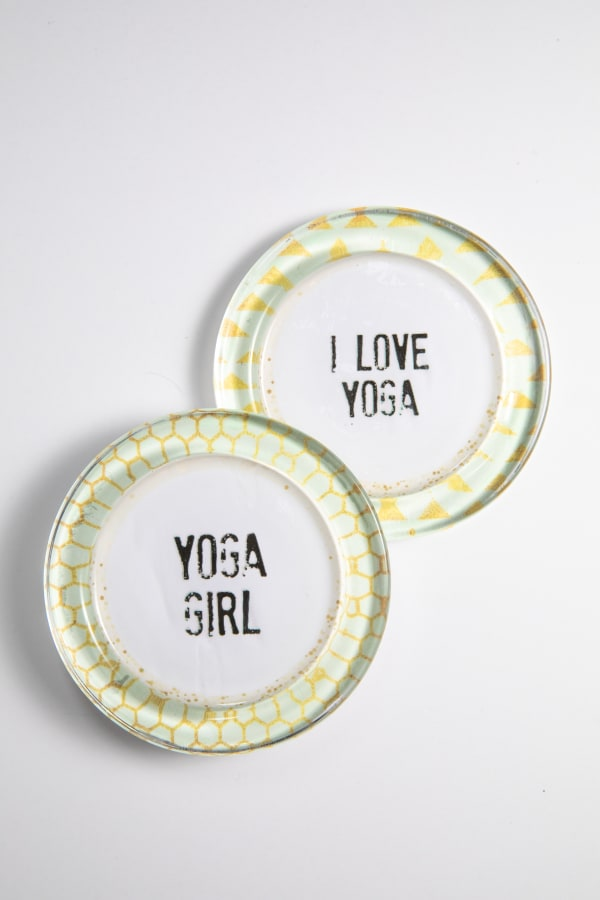 I Love Yoga Yoga Girl Recycled Glass Coaster Set of 2