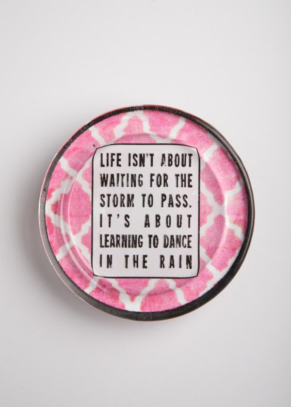 Dance In The Rain Pink Recycled Glass Coaster