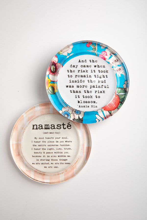 Namaste Pink Bud Blue Recycled Glass Coaster Set of 2