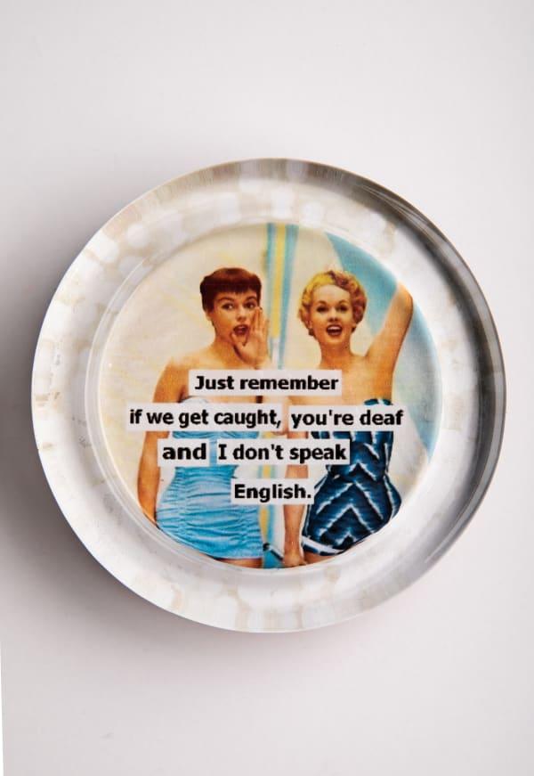 No English White Recycled Glass Coaster