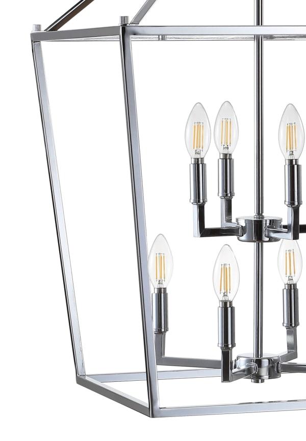 Chrome Lantern Metal LED Pendant