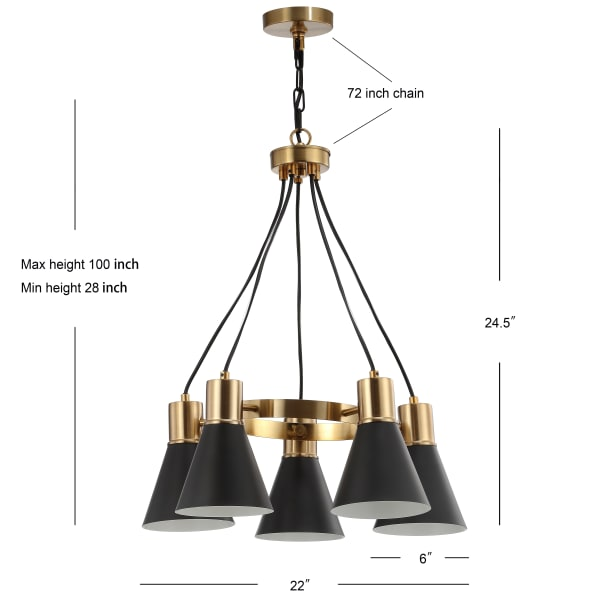 5-Light Metal LED Pendant, Black/Brass Gold