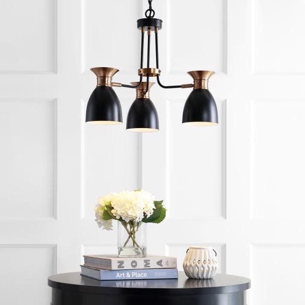 Middleton 3-Light Metal LED Pendant, Black/Brass Gold