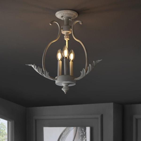 Metal LED Semi-Flush Mount, Antique White