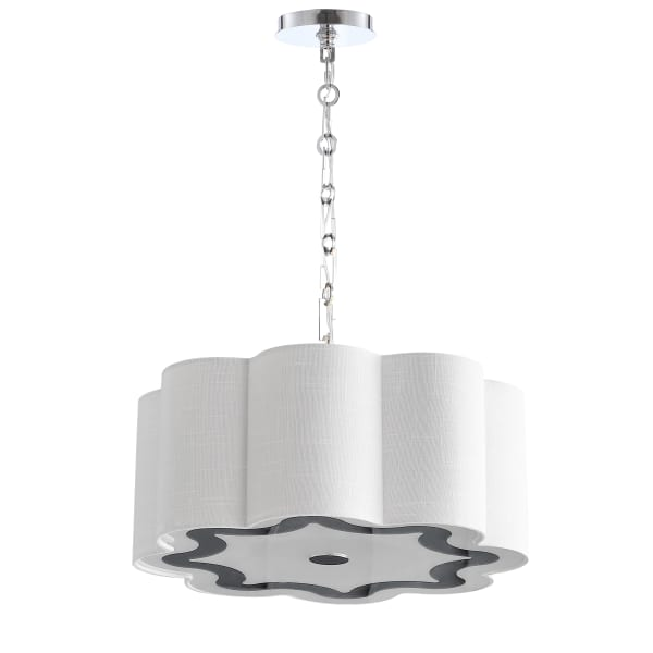 4-Light Adjustable Scalloped Shade Metal LED Pendant, Chrome/White