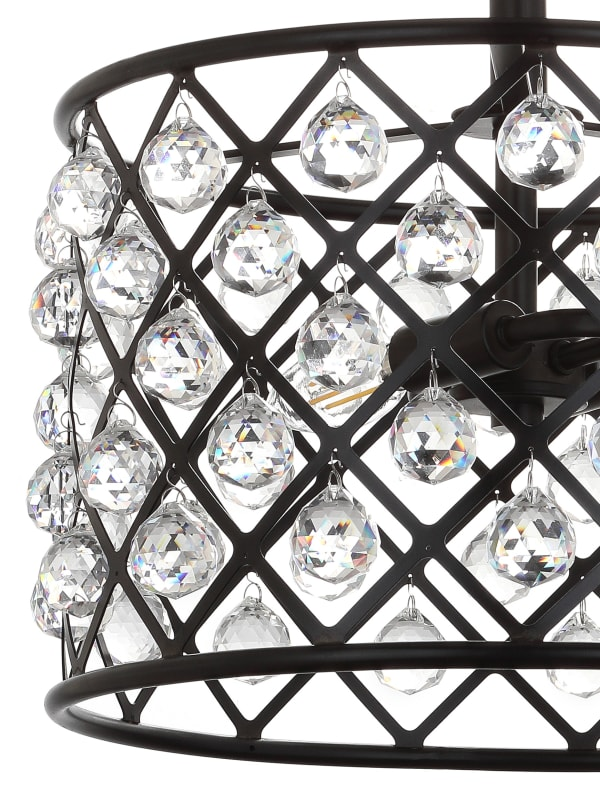 Crystal/Metal LED Semi-Flush Mount, Oil Rubbed Bronze
