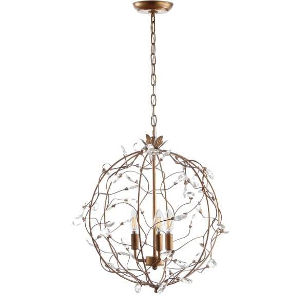 Adjustable Metal/Glass LED Pendant, Antique Gold