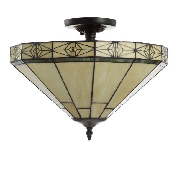 Tiffany-Style Glass/Metal LED Semi-Flush Mount, Cream