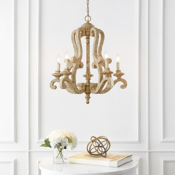 5-Light Adjustable Wood/Iron Rustic Scrolled LED Chandelier, Brown