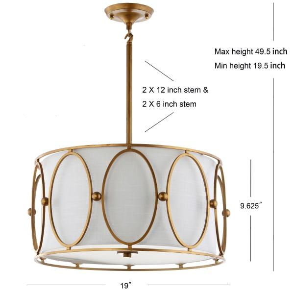 3-Light Metal LED Pendant, Gold/White