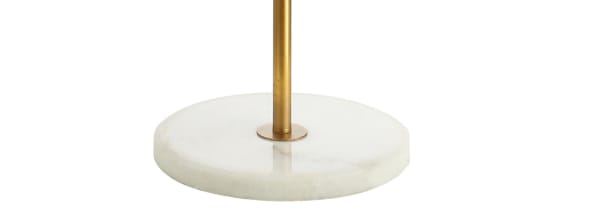 Diamante Modern Gilt Metal with Marble Based LED Floor Lamp, Gold/White