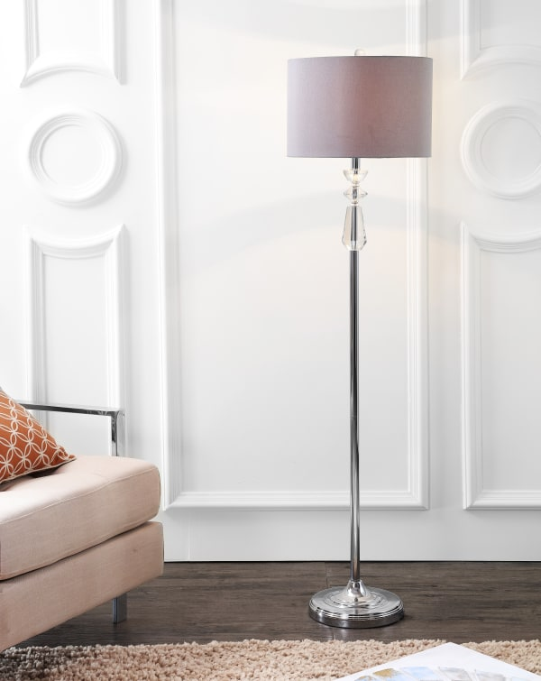 Crystal / Metal LED Floor Lamp, Clear/Chrome With Gray Shade