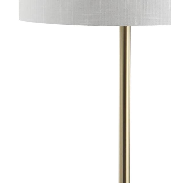 Metal/Wood LED Floor Lamp with Table, Black/Brass