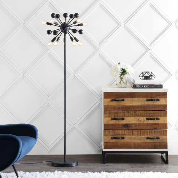 Orbit 10-Light Modern Sputnik Metal LED Floor Lamp, Black