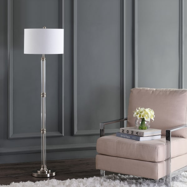 Metal/Glass Floor Lamp, Polished Nickel/Clear