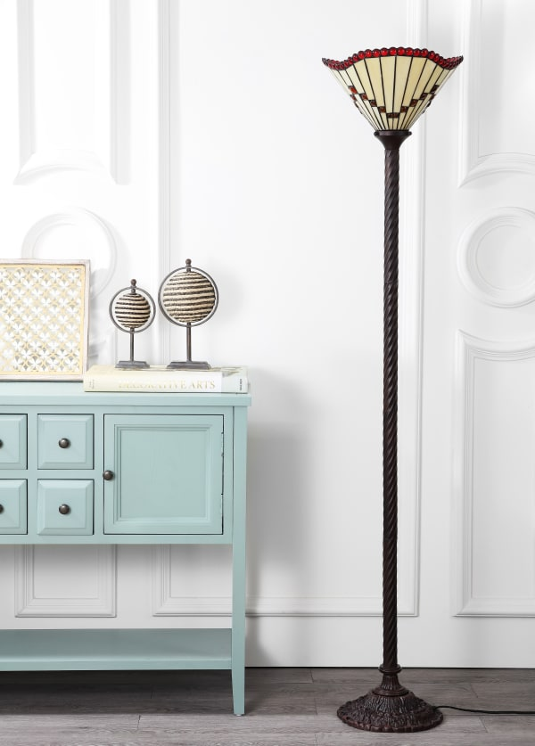 Tiffany-Style Torchiere LED Floor Lamp, Bronze