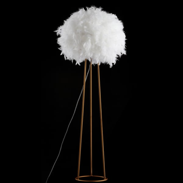 Feather Metal LED Floor Lamp, White/Gold