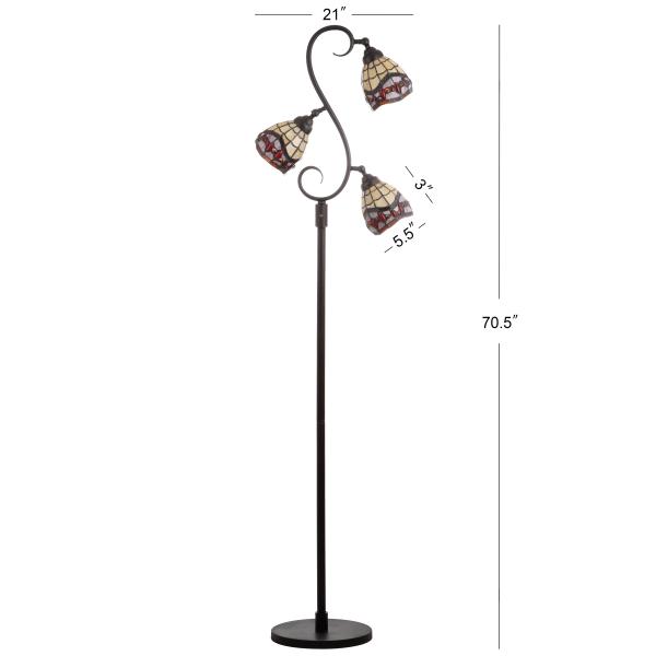 Tiffany-Style Multi-Light LED Floor Lamp, Bronze