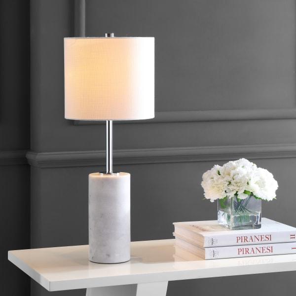 Marble LED Table Lamp, White/Chrome