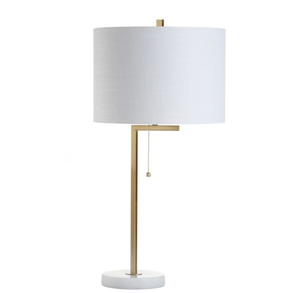 Metal/Marble LED Table Lamp, Brass Gold/White