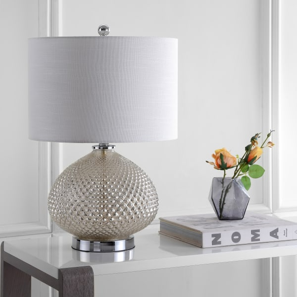 LED Glass Table Lamp, Mercury Silver