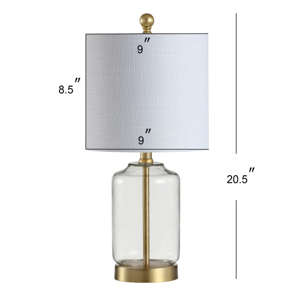 Glass/Metal LED Table Lamp, Brass/Clear