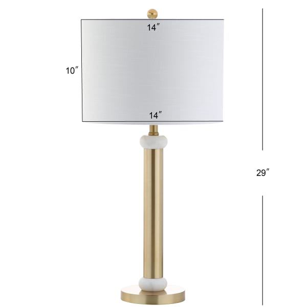 Metal/Marble Table Lamp, Gold/White