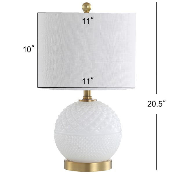 Glass/Metal LED Table Lamp, White/Brass Gold