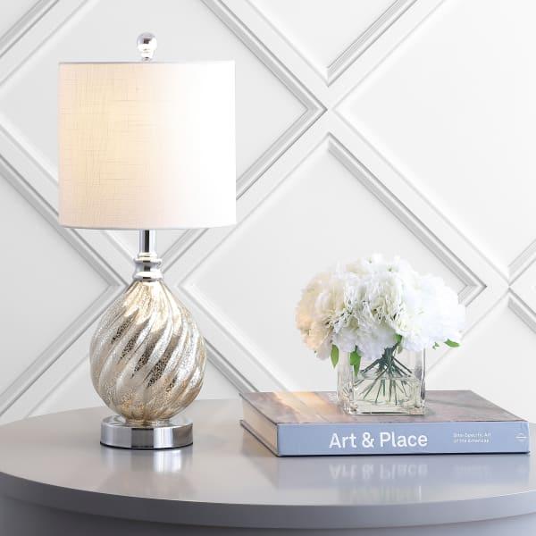 Glass/Metal LED Table Lamp, Mercury Silver
