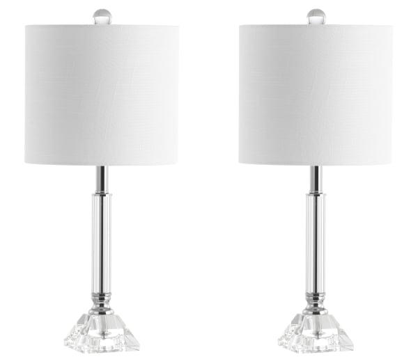 Crystal Column/Metal LED Table Lamp, Clear