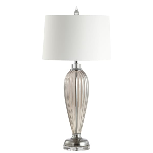 Glass/Crystal LED Table Lamp, Smoked Grey