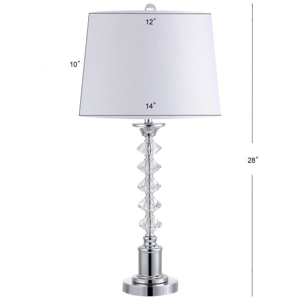 Crystal LED Table Lamp, Clear/Chrome (Set of 2)