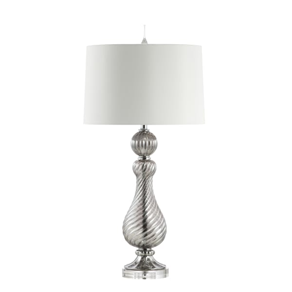 Swirled Crystal/Glass LED Table Lamp, Gray