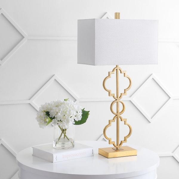 Iron Ogee Trellis Modern  LED USB Table Lamp, Gold