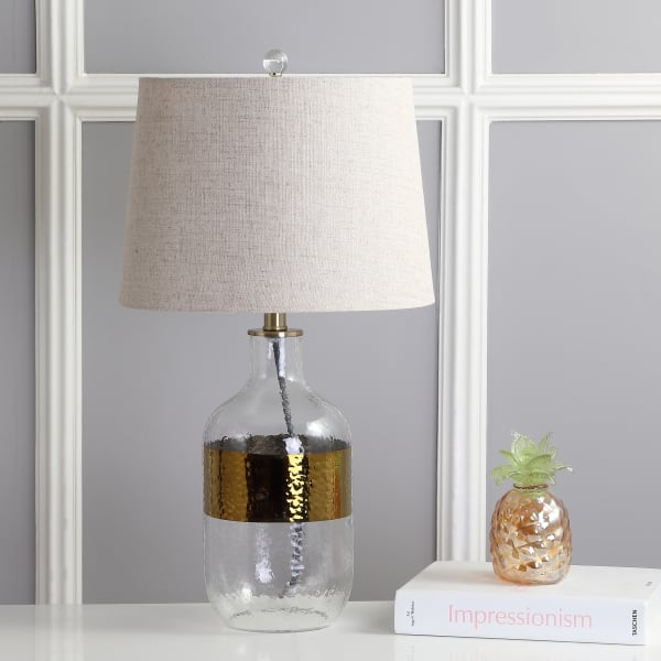 Glass LED Table Lamp, Clear/Brass