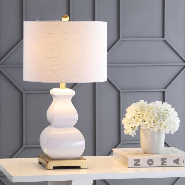 Vienna Ceramic LED Table Lamp, White/Gold