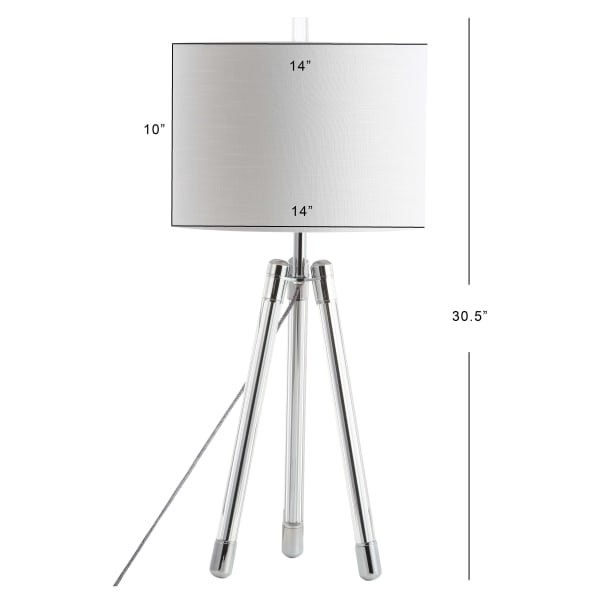 Surveyor's Tripod Crystal/Metal LED Table Lamp, Chrome/Clear