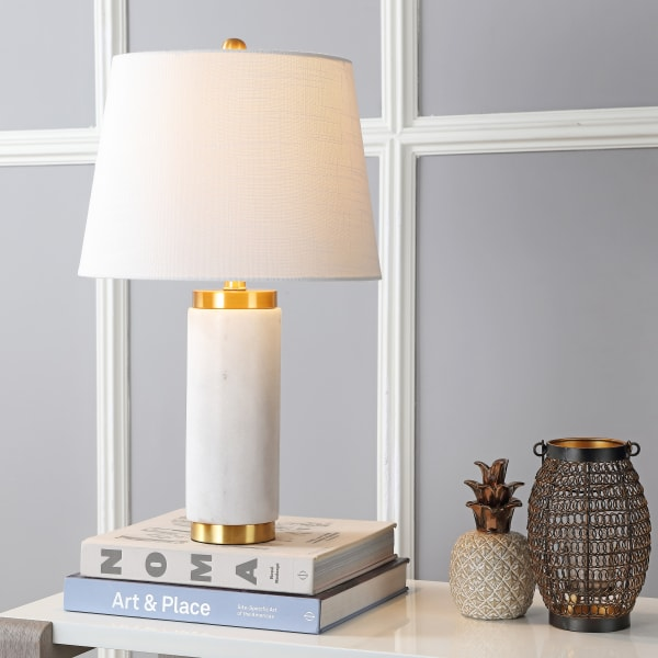 Marble LED Table Lamp, White/Brass