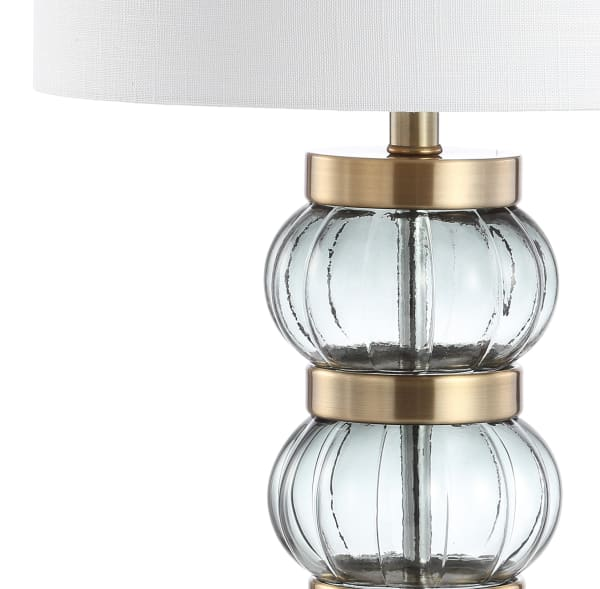 Glass/Metal Table Lamp, Smoked Gray/Brass Gold