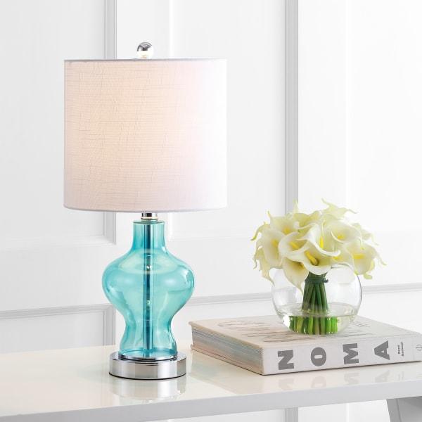 Glass/Metal Table Lamp, Aqua